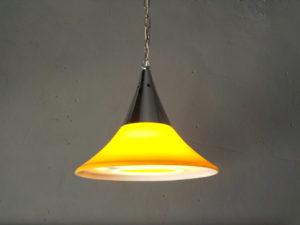 Space Age Κίτρινο & Inox Φωτιστικό Οροφής