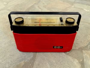 Vintage Portable Red Continental Edison Radio