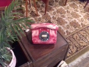 Rare Siemens Rotary Phone In Imitation Of Red Marble