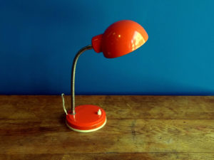 Red Gooseneck Desk And Table Lamp