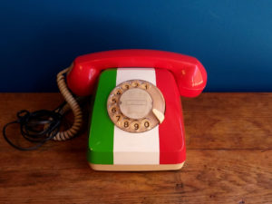 Vintage Rotary Siemens Phone In Italian Flag Colors