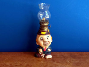 Vintage Small Hobo Figurine Oil Lamp