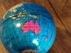 Vintage Tin Globe-Stand For Three Pens, Made In Greece