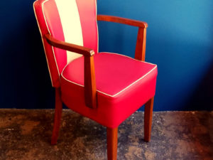 Retro Red & White Leatherette Armchairs