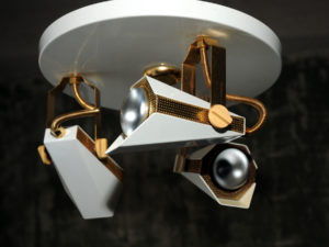 Unique Space Age Hanging Light With Three Spaceship Adjustable Spots