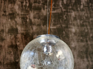 Mid Century Ceiling Lamp With Craquelee Glass