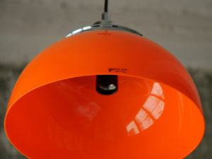 """Faro"" Orange Pentant Light, Harvey Guzzini Made In Italy '70s"
