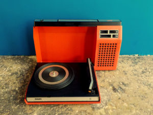 Red Vintage Philips 423 Portable Record Player