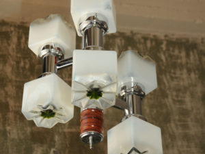 Mid Century Inox Ceiling Light With 6 Frozen Glass Cubes
