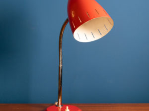 Original Vintage Red Adjustable Goozneck Table Lamp