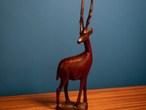 Vintage Carved Wood Gazelle Statue