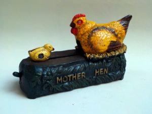 Cast Iron Mechanical Bank Mother & Hen