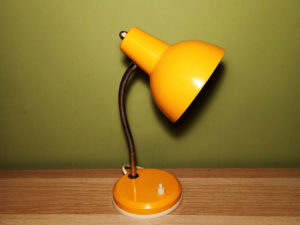 Vintage Yellow Goozneck Adjustable Table Lamp