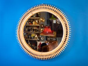 Vintage Original Rattan Round Wall Mirror