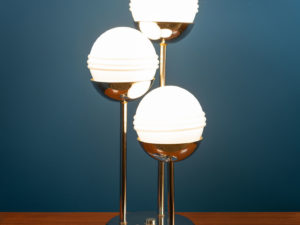 Mid Century Modern Italian Floor Or Table Lamp With 3 Globes