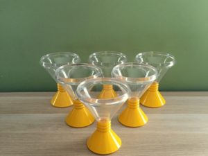 Set Of 6 Plastic Ice Cream Vintage Glasses