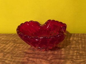 Mid Century Italian Red Glass Shell Ashtray