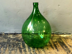 Vintage Green Glass Demi-john Bottle