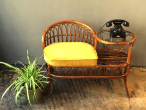 Unique Rattan Chair & Side Table, Phone Stand