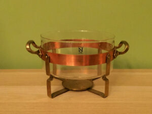 Nielsjohan! Made In Sweden Glass Bowl With Copper Fixture