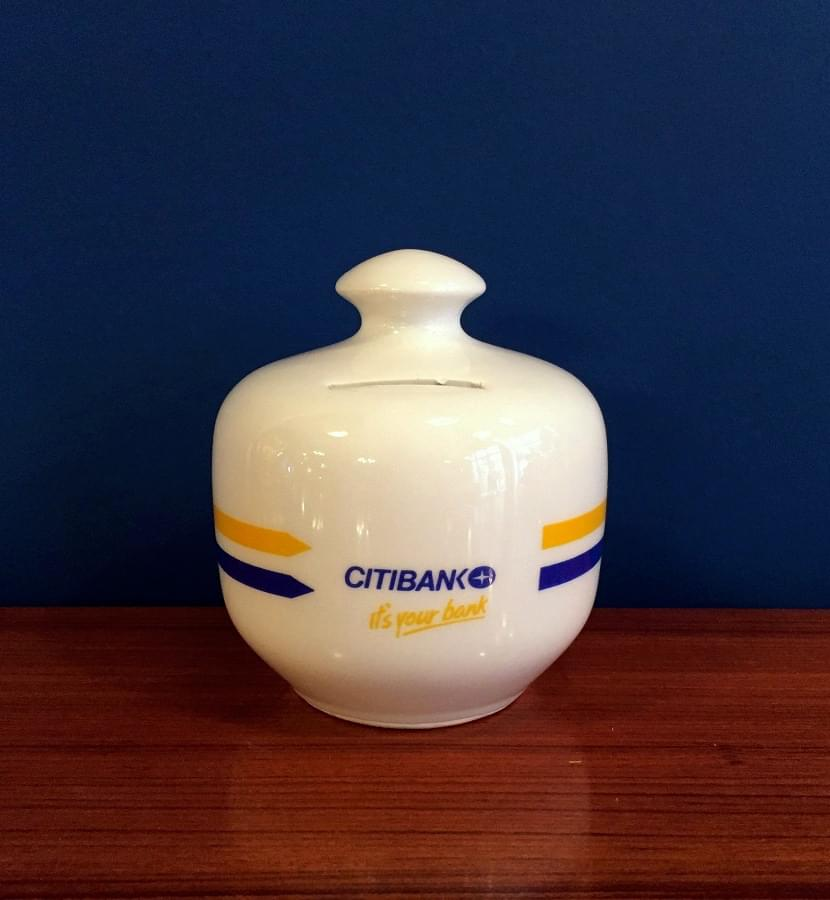 Retro Bank Design.Advertising Coin Bank From Citybank Retro So It Is