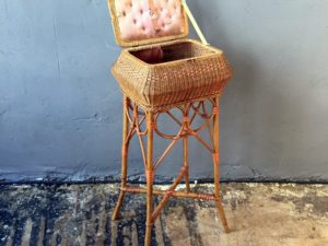 Unique Vintage Rattan Side Table / Sewing Box
