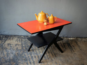 Black Mid Century Table With Red Formica