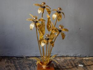 Απίθανο Φωτιστικό Δαπέδου Χρυσό Μεταλλικό Φυτό '60ς