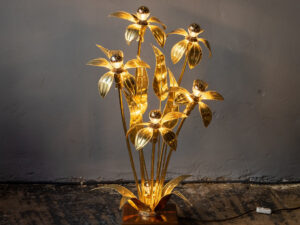 Mid Century Gold Brass Metal Plant Lamp Light '60s