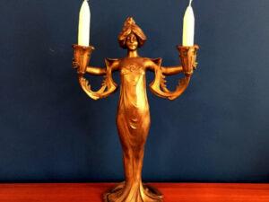 Lucien Alliot(1877-1967)Art Nouveau Figural Lady Candelabrum, Signed.
