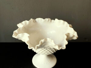 Vintage White Fenton Milk Glass Candy Bowl