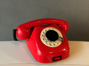 Excellent Vintage Red Rotary Phone By Tesla