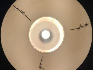 Mid Century Φωτιστικό Οροφής Με Οπαλίνα Και Γραμμικό Διάκοσμο