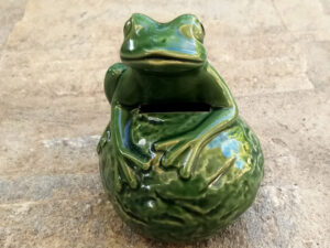 Vintage Green Ceramic Frog Bank