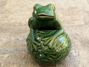 Vintage Κεραμικός Πράσινος Βάτραχος Κουμπαράς