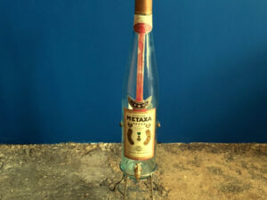 Vintage Big Bottle METAXA With Original Stand
