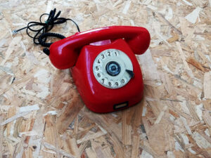 Red Vintage Rotary Phone Tesla