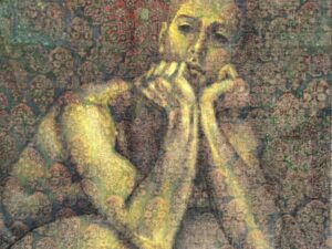"Lampros Vassiliades, Original Painting On Vintage Carpet, ""Thinking Figure"""