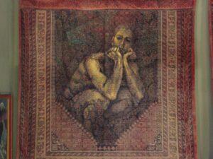 "Lampros Vassiliades, Μοναδική Ζωγραφική Σε Παλαιό Χαλί, ""Σκεπτόμενη Μορφή"""
