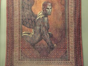 "Lampros Vassiliades, Original Painting On Vintage Carpet, ""The Sphinx"""