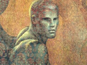"Lampros Vassiliades, Original Painting On Vintage Carpet, ""The Sphinx"""