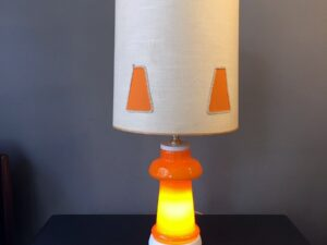 Great,Vintage Table Or Floor Lamp With Orange Opaline Glass