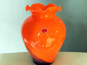 Italian Murano Orange With Brown Details Glass Vase