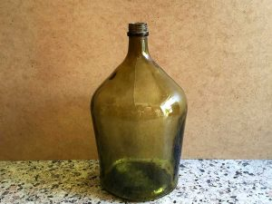 Vintage Glass Made Dame-Jeanne Bottle In Olive Green , 38cm