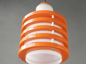 Vintage Ceiling Light, Glass And Orange Metal Rings From '60s