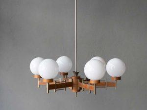 Mid Century Hanging Light With Six Glass Globes Scandinavian Design '60s