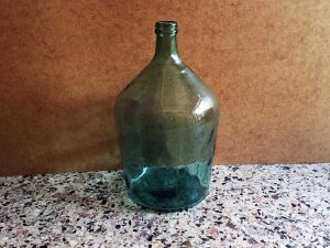 Vintage Green Glass Dame-jeanne Bottle 40cm