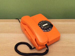 NOS Vintage Rotary Siemens Orange Phone Made In Greece, Boxed