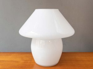 Vintage Mid Century Italian Mushroom Table Lamp Milky Glass
