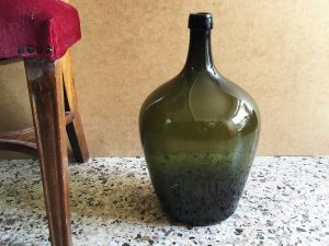 Vintage Glass Made Dame-Jeanne Bottle In Olive Green , 44cm